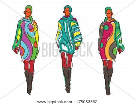 Sketch Retro Fashion Women Models With Colored Clothes