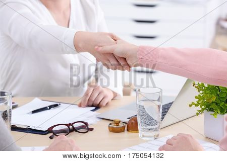 Women shaking hands sitting at workplace in office