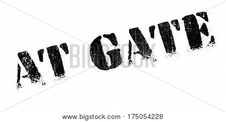 At Gate rubber stamp. Grunge design with dust scratches. Effects can be easily removed for a clean, crisp look. Color is easily changed.