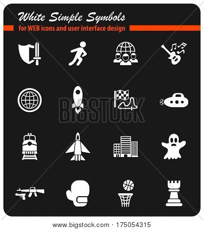 game genre white simple symbols for web icons and user interface design