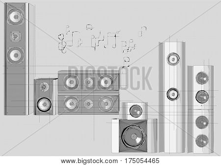 speakers. group of audio speakers with abstract notes
