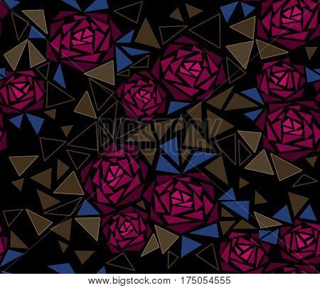 Seamless tile mosaic design pattern with roses black background