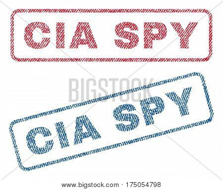 CIA Spy text textile seal stamp watermarks. Blue red fabric vectorized texture. Vector caption inside rounded rectangular shape. Rubber emblem with fiber textile structure.