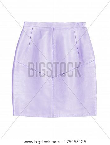 lilac leather pencil skirt isolated on white background