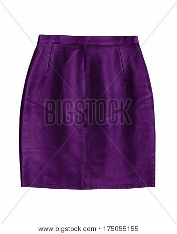 purple leather pencil skirt isolated on white background