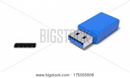 3d illustration of usb port and simple usb stick. isolated on white.