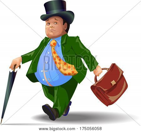 The fat man comes with an umbrella and a briefcase. Vector image.