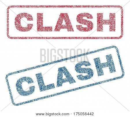 Clash text textile seal stamp watermarks. Blue red fabric vectorized texture. Vector caption inside rounded rectangular shape. Rubber sticker with fiber textile structure.
