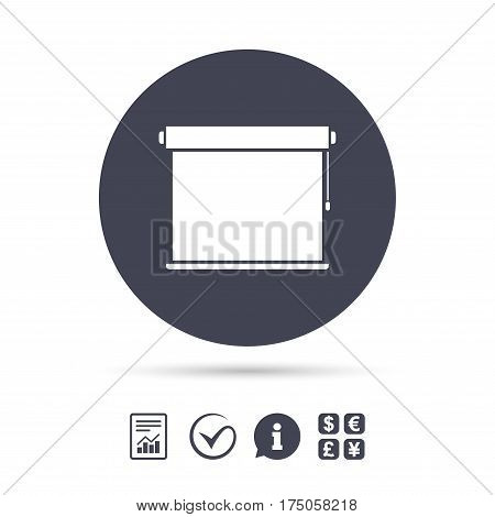 Louvers rolls sign icon. Window blinds or jalousie symbol. Report document, information and check tick icons. Currency exchange. Vector