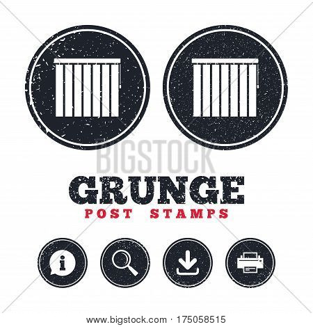 Grunge post stamps. Louvers vertical sign icon. Window blinds or jalousie symbol. Information, download and printer signs. Aged texture web buttons. Vector