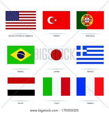 Flag Most Popular Set In Color Illustration