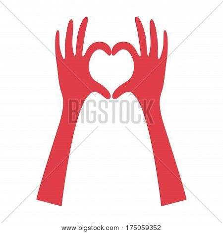 pink hands stand up doing the heart icon, vector illustraction