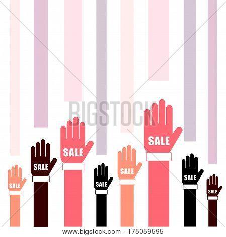 Sale On Hands Set In Two Color Illustration