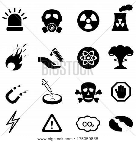 Warning safety and danger signs icon set