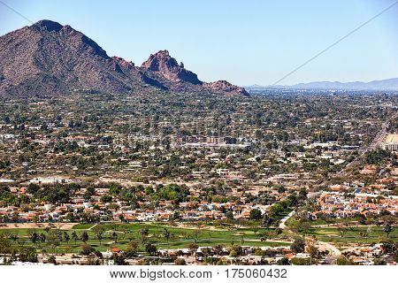 Scottsdale skyline looking southwest at Camelback Mountain