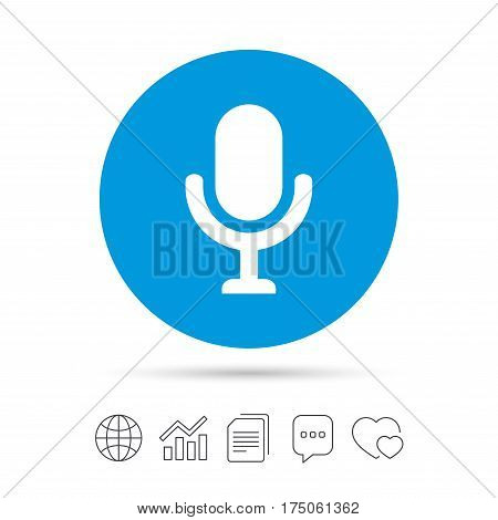 Microphone icon. Speaker symbol. Live music sign. Copy files, chat speech bubble and chart web icons. Vector