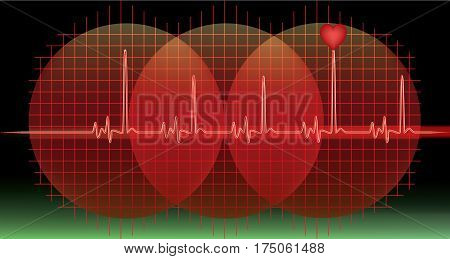 Heart beat monitor on a black background