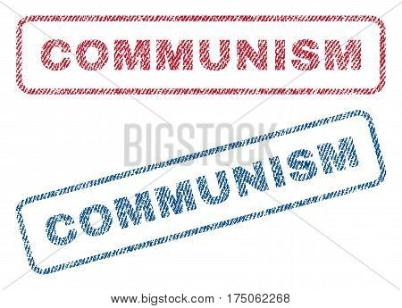 Communism text textile seal stamp watermarks. Blue red fabric vectorized texture. Vector tag inside rounded rectangular shape. Rubber emblem with fiber textile structure.