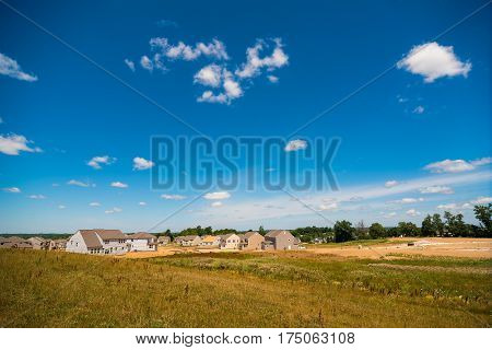 TWINSBURG OH - JULY 10 2016: A new housing development encroaches on former farm land in this rapidly growing Cleveland suburb.