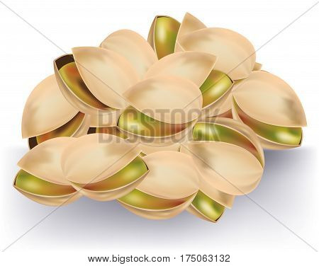 Handful of tasty pistachios on white background