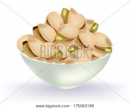 Pistatchios in awhite bowl on white background