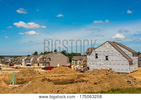 TWINSBURG OH - JULY 10 2016: A new housing development rises on former farm land in this rapidly growing Cleveland suburb.