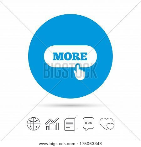 More with hand pointer sign icon. Details symbol. Website navigation. Copy files, chat speech bubble and chart web icons. Vector