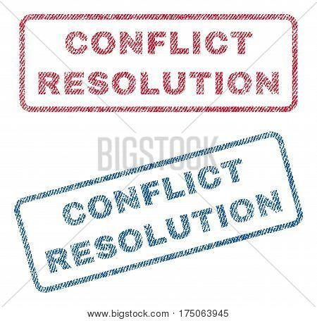 Conflict Resolution text textile seal stamp watermarks. Blue red fabric vectorized texture. Vector tag inside rounded rectangular banner. Rubber emblem with fiber textile structure.