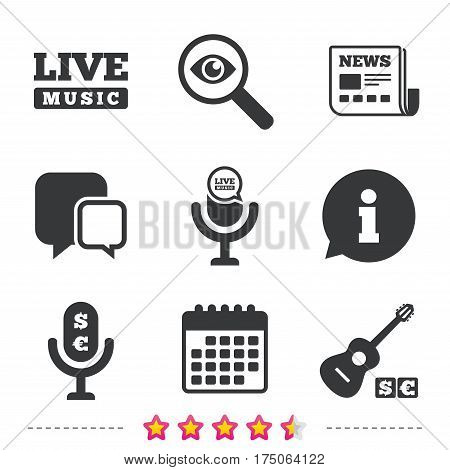 Musical elements icons. Microphone and Live music symbols. Paid music and acoustic guitar signs. Newspaper, information and calendar icons. Investigate magnifier, chat symbol. Vector