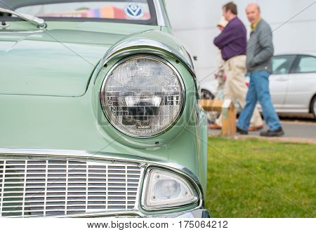 Close Up View Of A Classic Car Headlight
