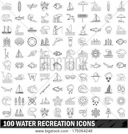 100 water recreation icons set in outline style for any design vector illustration
