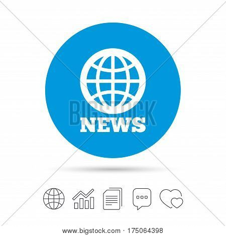 News sign icon. World globe symbol. Copy files, chat speech bubble and chart web icons. Vector