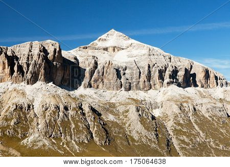 Piz Boe view of top of Sella gruppe or Gruppo di Sella South Tirol Dolomites mountains Italy
