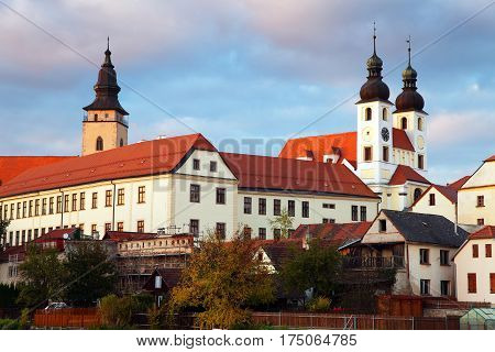 Evening view of Telc or Teltsch town World heritage site by unesco in Czech Republic
