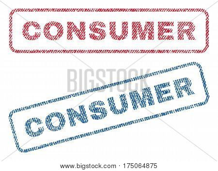 Consumer text textile seal stamp watermarks. Blue red fabric vectorized texture. Vector tag inside rounded rectangular banner. Rubber sticker with fiber textile structure.