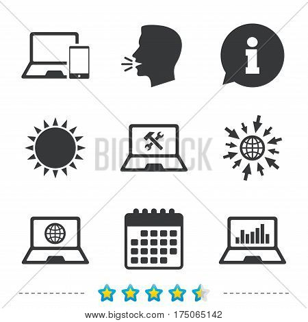 Notebook laptop pc icons. Internet globe sign. Repair fix service symbol. Monitoring graph chart. Information, go to web and calendar icons. Sun and loud speak symbol. Vector
