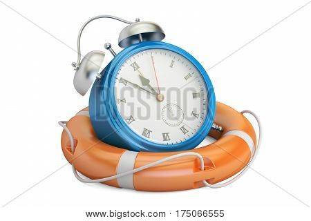 Alarmclock in lifebuoy save time concept. 3D rendering isolated on white background