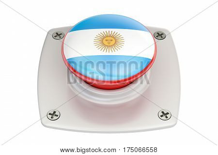 Argentina flag push button 3D rendering  isolated on white background