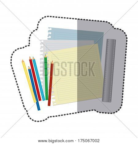 color pencils color, notebook and rule icon, vector illustraction design