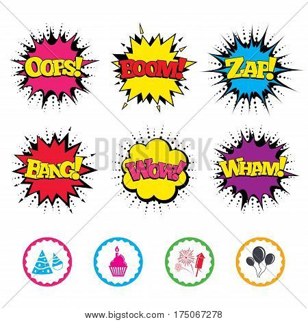 Comic Wow, Oops, Boom and Wham sound effects. Birthday party icons. Cake, balloon, hat and muffin signs. Fireworks with rocket symbol. Cupcake with candle. Zap speech bubbles in pop art. Vector