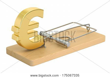 mousetrap with euro sign 3D rendering isolated on white background