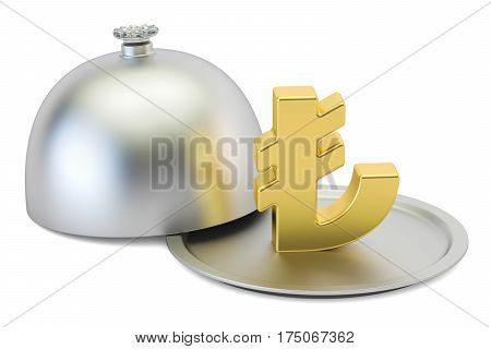 Restaurant cloche with gold lira symbol 3D rendering