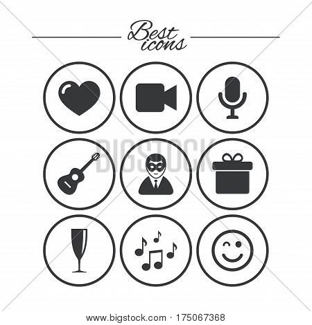 Party celebration, birthday icons. Carnival, guitar and champagne glass signs. Gift box, music and video camera symbols. Classic simple flat icons. Vector