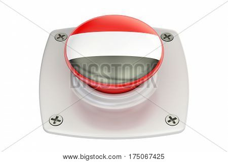 Yemen flag push button 3D rendering isolated on white background