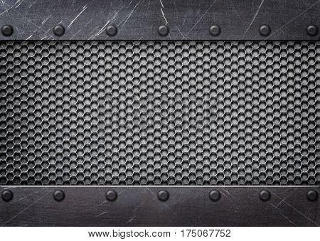 Metal Mesh Reinforced Plates And Rivets, Background, Illustration 3D