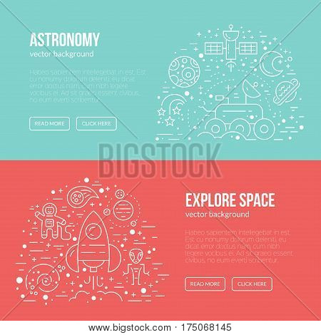 Banner or flyer template with different cosmos items - rover, spaceship, planets, alien, cosmonaut. Line style vector.