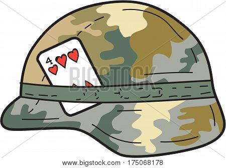 Drawing sketch style illustration of a Us Army Kevlar combat helmet with camouflage cloth cover and four of hearts playing card attached to side set on isolated white backgorund.