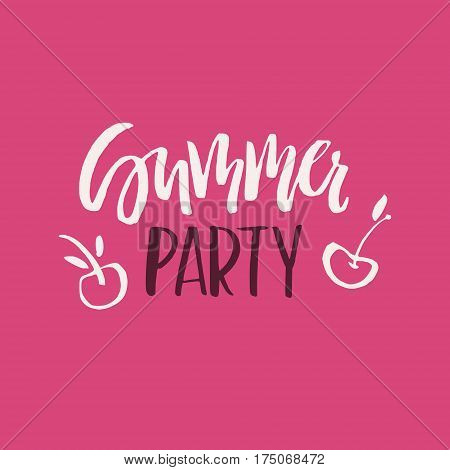 Unique hand lettering design for travel agency, summer party, postcard or summer sale. Handdrawn lettering with summer elements. Vector emblem for summer signs and banners.