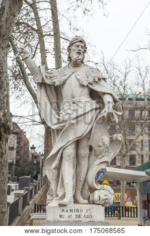 Madrid Spain - february 26 2017: Sculpture of Ramiro I of Asturias at Plaza de Oriente Madrid. He was King of Asturias from 842 until his death