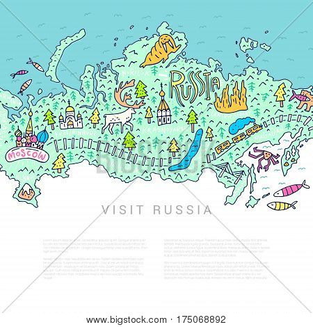 Cartoon map of Russia. Handdrawn illustration with all main tourist attractions. Place for your text.